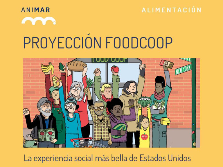 Proyectamos el documental FOOD COOP en el Mercado Municipal de Vallehermoso.